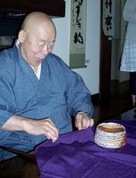 Eido Roshi had admired one chawan in particular, and the group gave it to him as a thank-you, to his apparent delight.